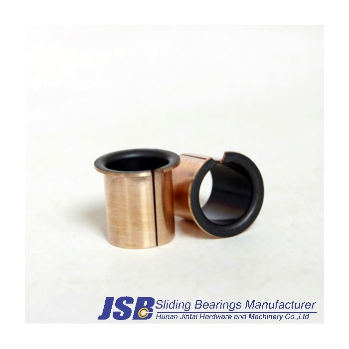 Metal/polymer composite plain bearings, with steel backing,Flanged bushes